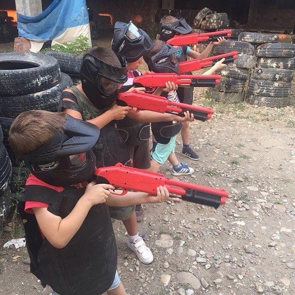 kids on paintball birthday party